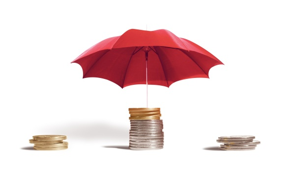 umbrella, coins, protecting money, investment